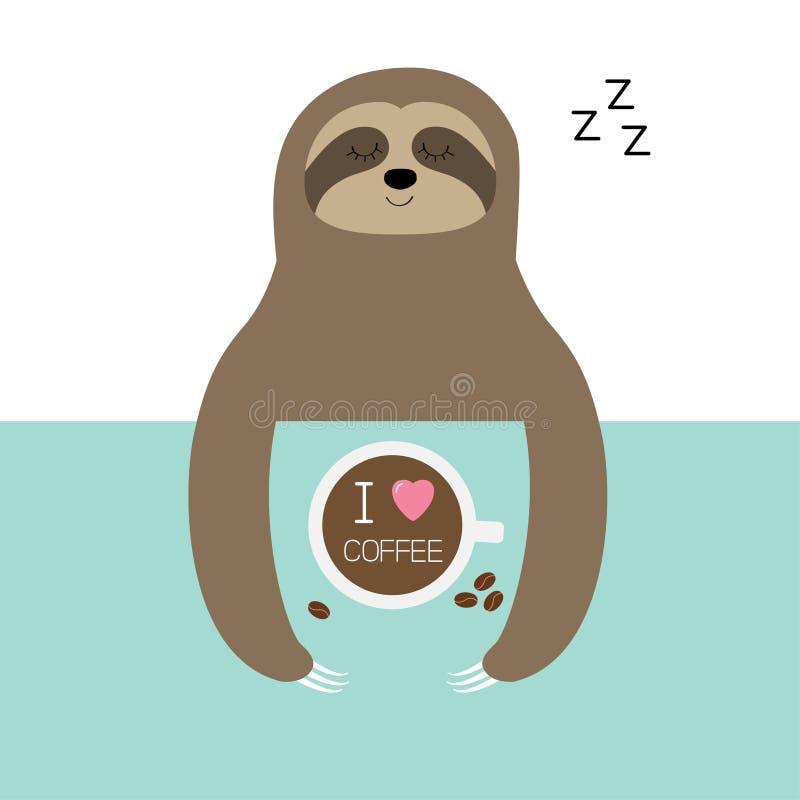 Sonno di bradipo Amo la tazza di caffè Zzz del segno di sonno Tazza da the sulla tavola Vista aerea superiore Carattere pigro del illustrazione di stock