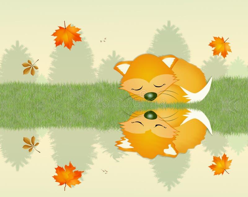 Sonno di Fox rosso illustrazione vettoriale