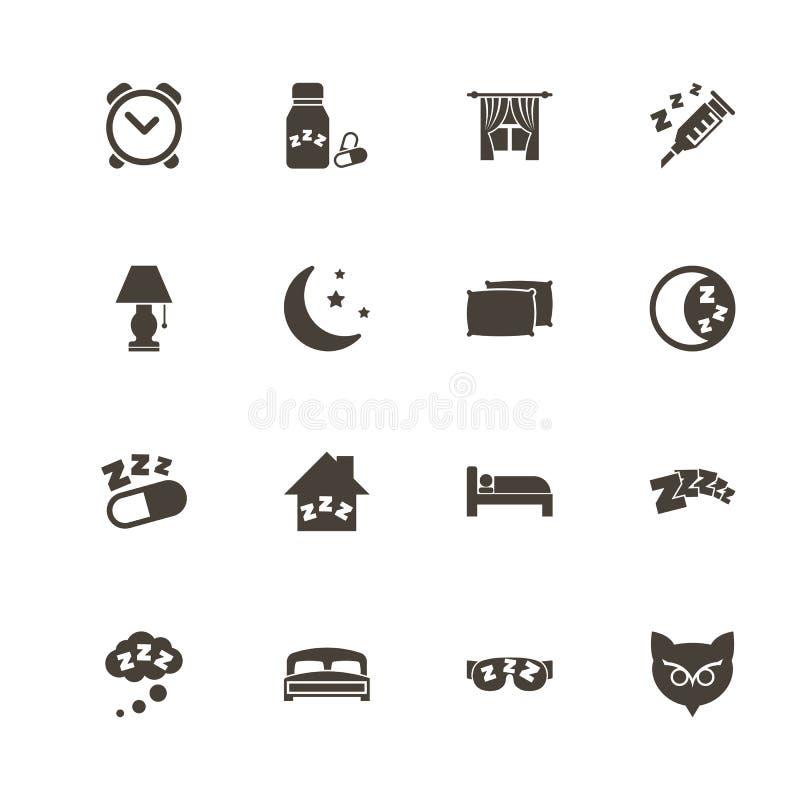 Sonno - icone piane di vettore royalty illustrazione gratis