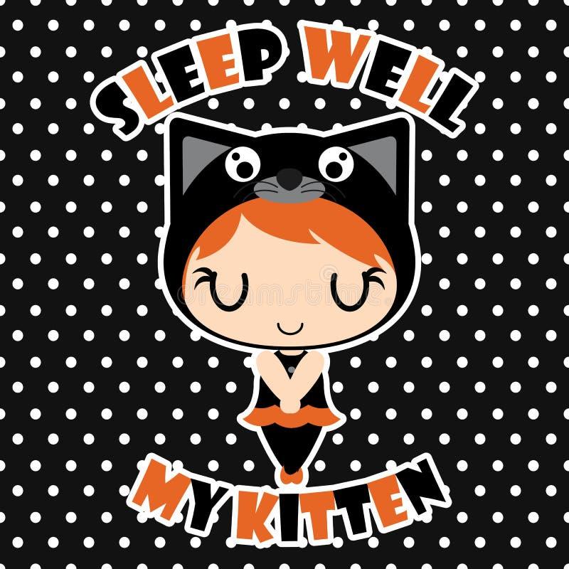 Sonno sveglio della ragazza del gatto nero bene sull'illustrazione del fumetto del fondo del pois per progettazione di carta di H royalty illustrazione gratis
