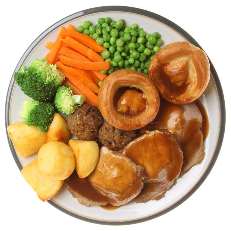 Sonntags-Schweinebraten-Abendessen lizenzfreie stockfotos