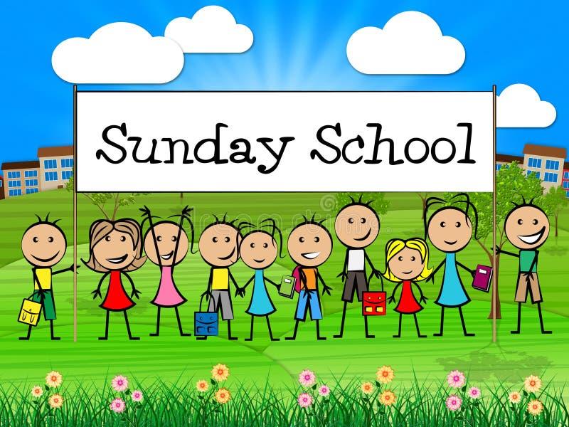 Sonntagsschulen-Fahne stellt das Gebets-Beten und die Knaben dar stock abbildung