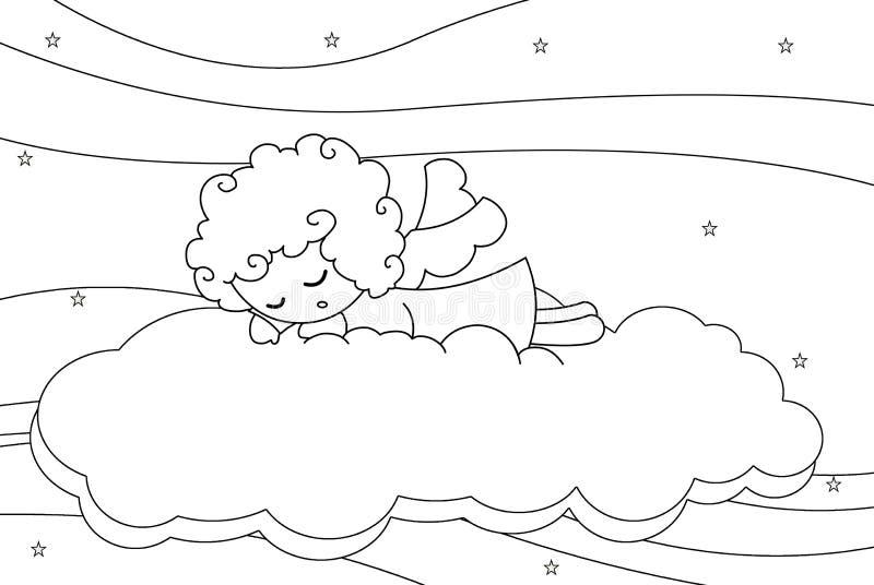 Sono bonito pouco menino do anjo ilustração do vetor