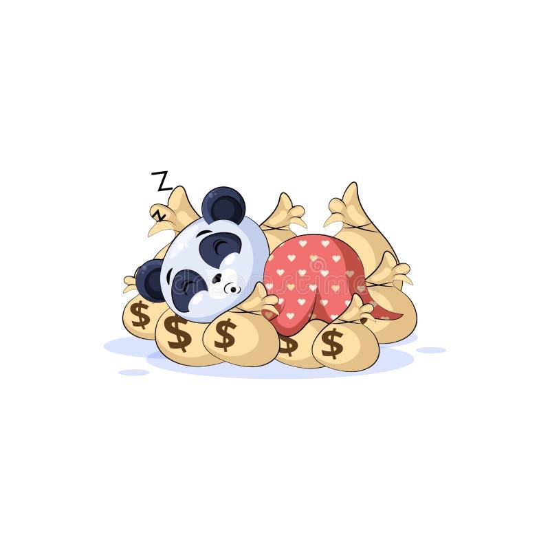 Sono do emoticon da etiqueta da panda no dinheiro dos sacos ilustração stock