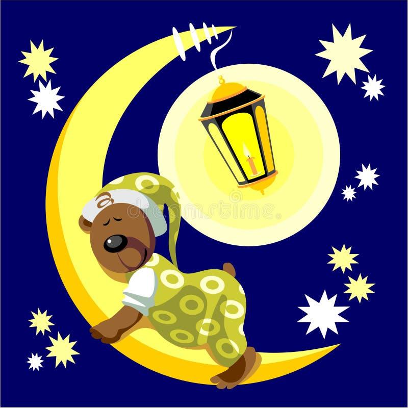 Sono do urso na cor 17 da lua ilustração royalty free