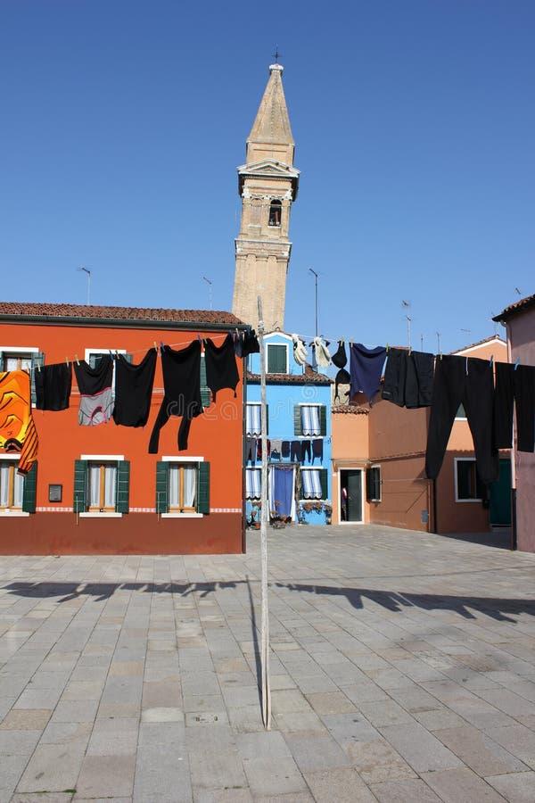 Sono i vestiti del sacerdote di Burano da asciugarsi? immagine stock libera da diritti