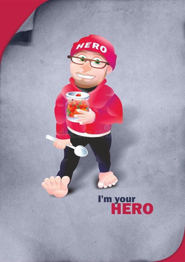 Sono il vostro eroe - un uomo con un cucchiaio fotografie stock