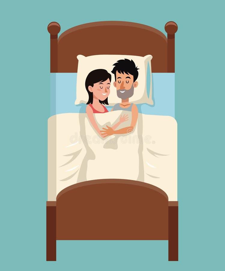 Sono novo dos pares abraçado junto na cama ilustração royalty free