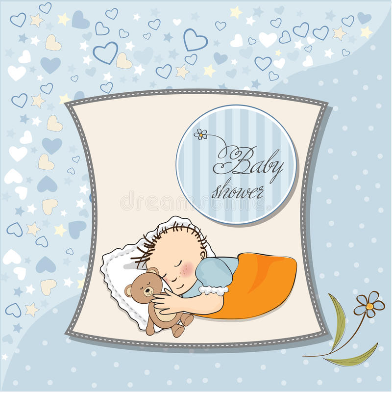 Sono pequeno do bebé com seu brinquedo do urso de peluche ilustração do vetor