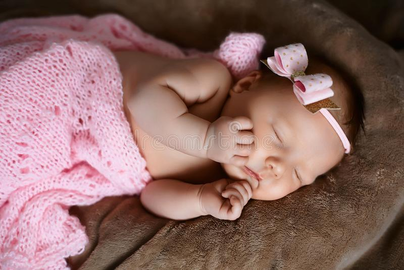 Sono recém-nascido do bebê bonito, coberto com o lenço cor-de-rosa macio, dobrado ordenadamente sob uma pena com uma cabeça peque fotografia de stock