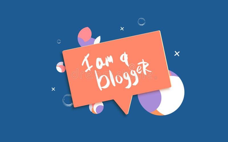 Sono una citazione di blogger Iscrizione della mano per le reti sociali di media Illustrazione di vettore illustrazione vettoriale