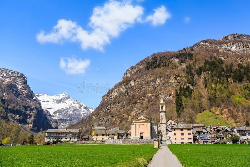 Sonogno village in Switzerland stock images