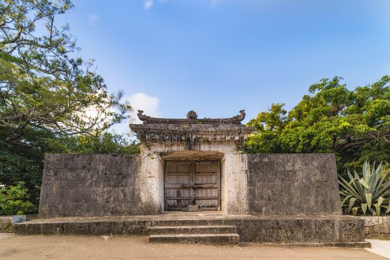 Sonohyan-utaki gate of Shuri Castle`s in the Shuri neighborhood of Naha, the capital of Okinawa Prefecture, Japan.  royalty free stock photos