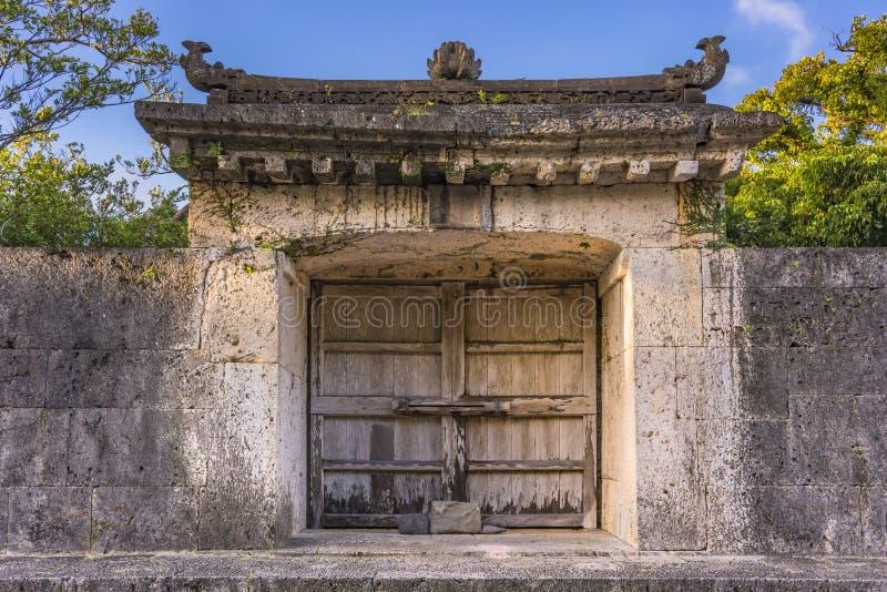 Sonohyan-Utakipoort van Shuri-Kasteel in de Shuri-buurt van Naha, het kapitaal van Okinawa Prefecture, Japan stock foto's