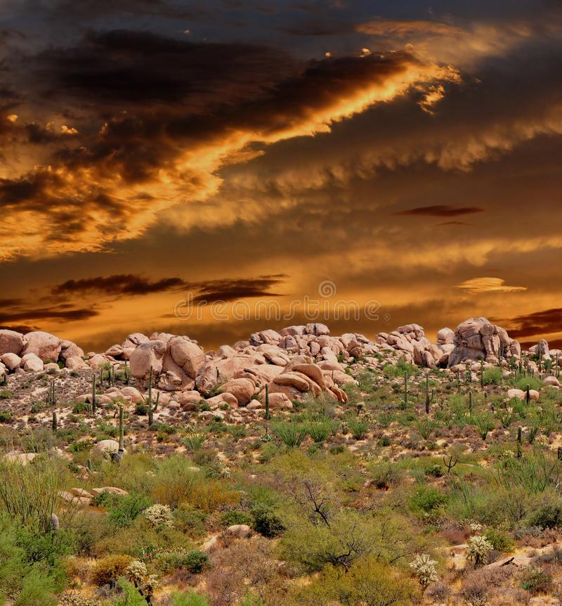 Sonora Desert Arizona Sunset. Sunset and boulder chain in the Sonora desert in central Arizona USA stock photography