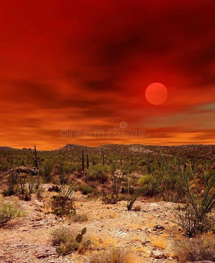 Sonora Desert Arizona Sunset. Sunset and boulder chain in the Sonora desert in central Arizona USA royalty free stock image