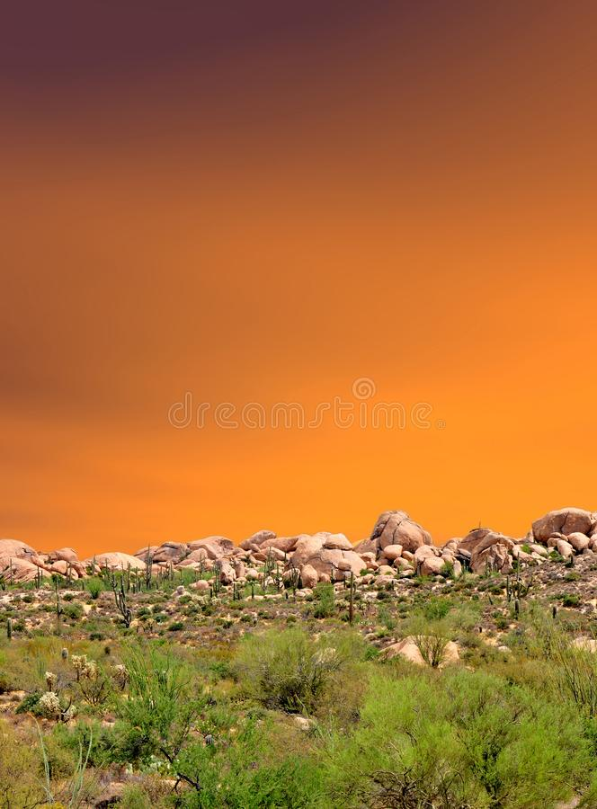 Sonora Desert Arizona Sunset. Sunset and boulder chain in the Sonora desert in central Arizona USA royalty free stock photos