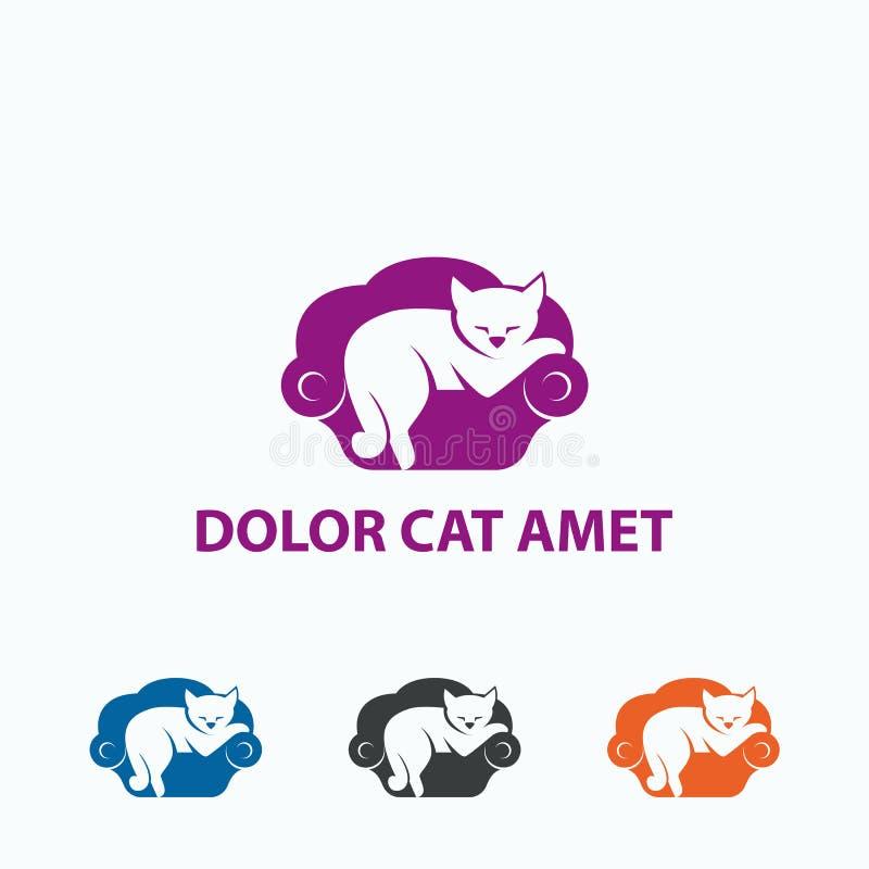 Sonos preguiçosos do gato Pets o molde do logotipo Gato do vetor no sofá ilustração stock