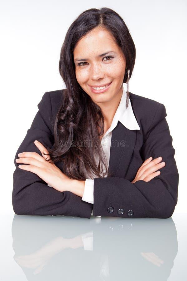 Sonrisa administrativa de la mujer imagenes de archivo