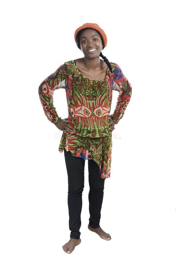 Sonrisa africana hermosa de la mujer fotos de archivo