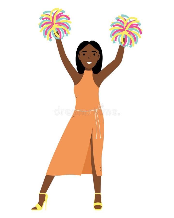 Sonrisa afroamericana de la muchacha Manos para arriba con los POM-poms Grupo de ayuda cheerleader stock de ilustración