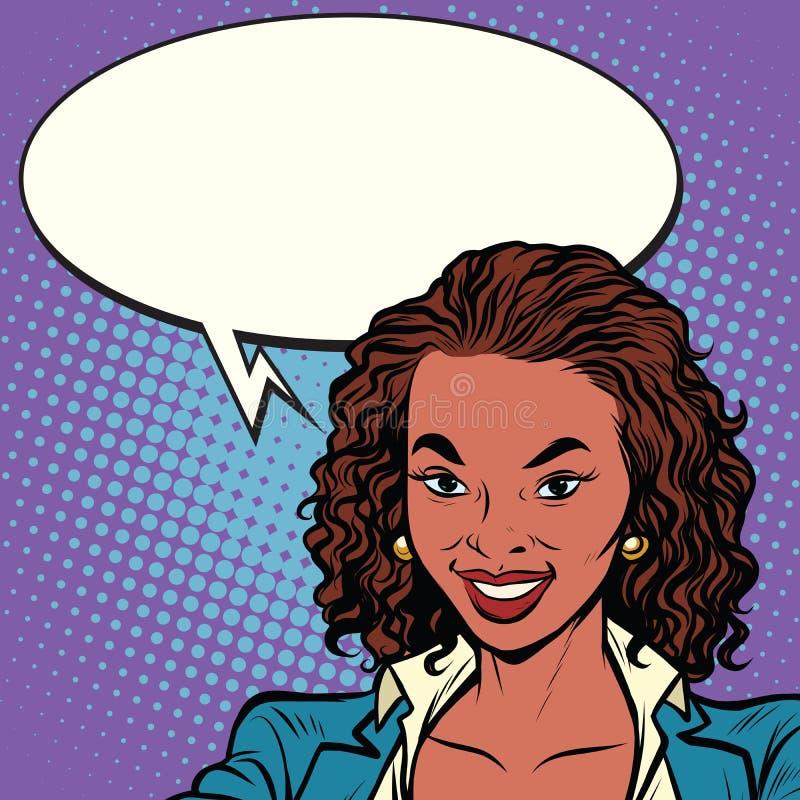 Sonrisa afroamericana hermosa de la mujer stock de ilustración