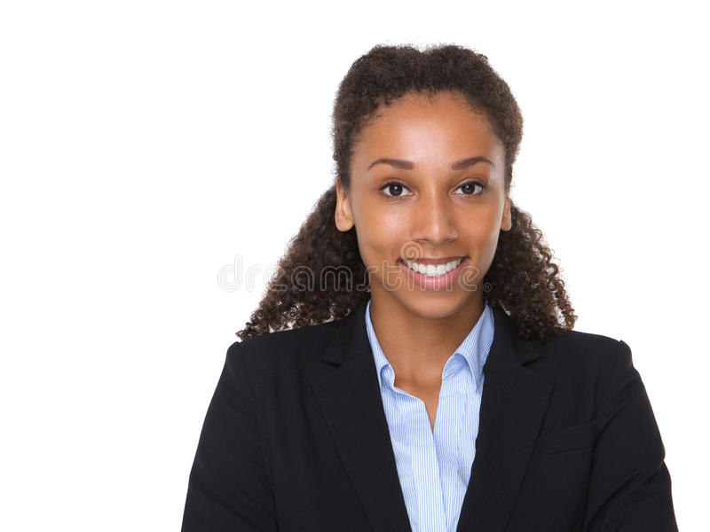 Sonrisa afroamericana joven de la mujer de negocios foto de archivo libre de regalías