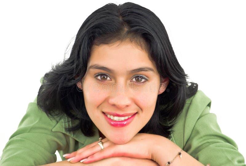 Sonrisa alegre de la mujer joven foto de archivo
