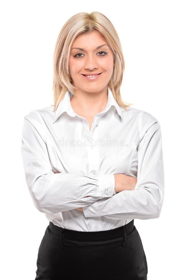 Sonrisa atractiva joven de la empresaria fotografía de archivo