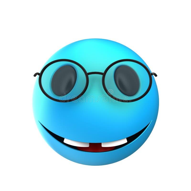 sonrisa azul del emoticon 3d ilustración del vector