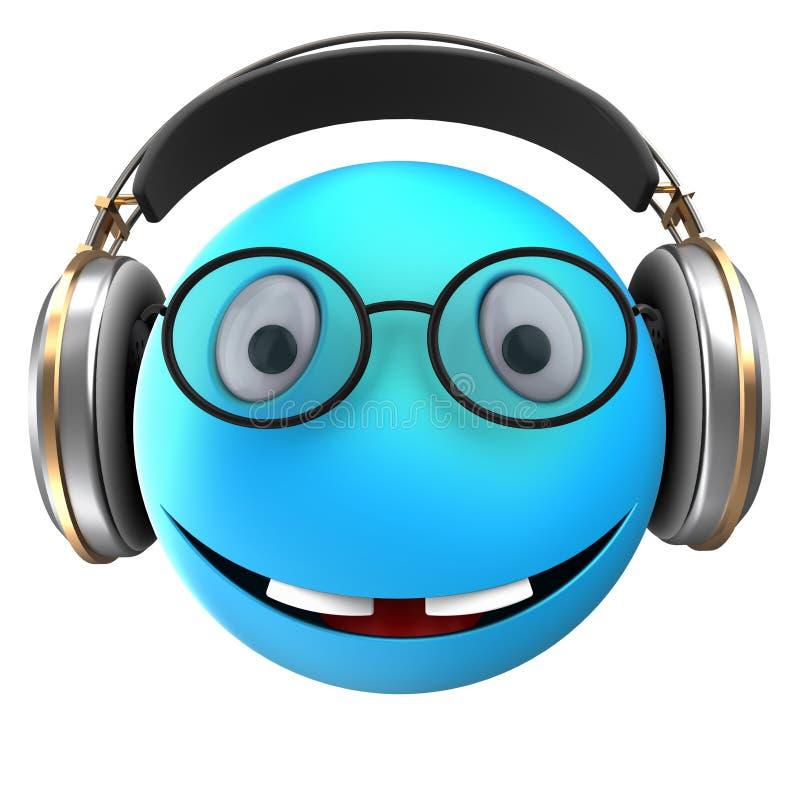 sonrisa azul del emoticon 3d stock de ilustración