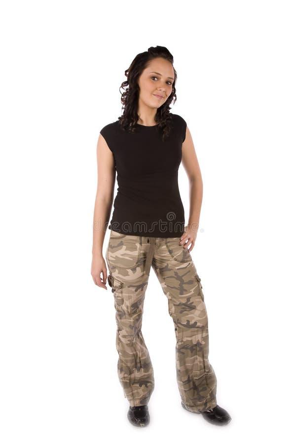 Sonrisa boba de la muchacha del ejército imágenes de archivo libres de regalías