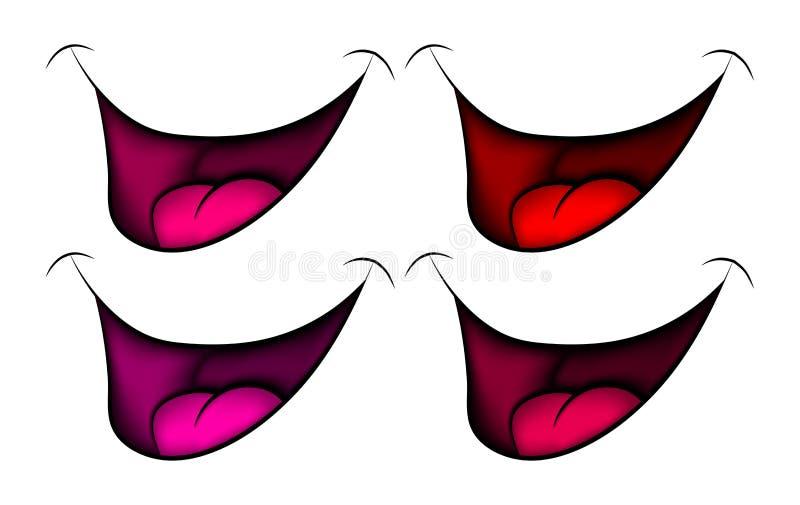 Sonrisa, boca, labios con los dientes y lengua de la historieta Ilustración del vector aislada en el fondo blanco stock de ilustración