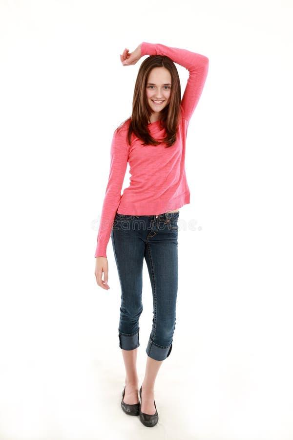 Sonrisa bonita fina de la muchacha del preadolescente imagen de archivo libre de regalías