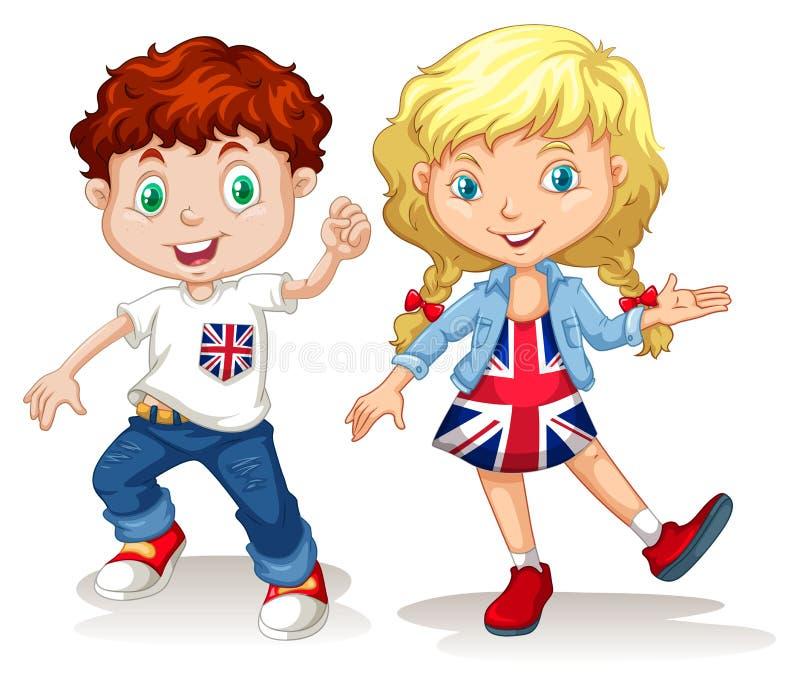 Sonrisa británica del muchacho y de la muchacha stock de ilustración