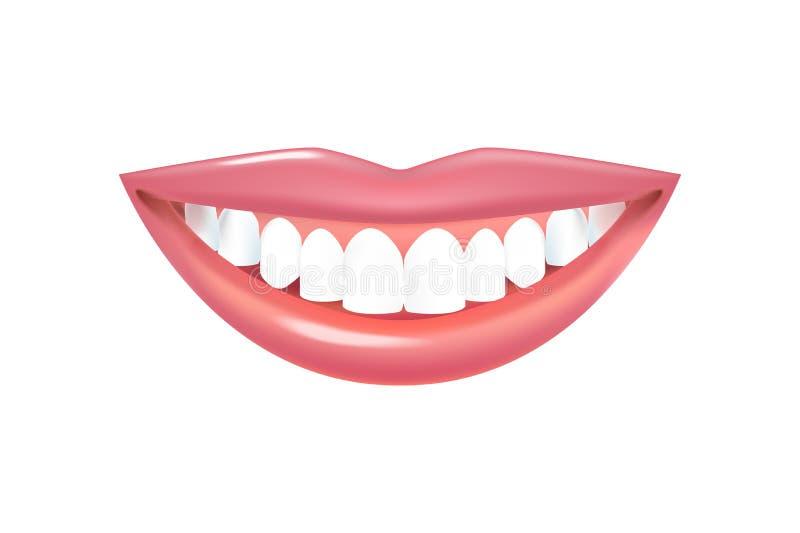 Sonrisa con los dientes blancos hermosos Labios realistas del vector con los dientes stock de ilustración