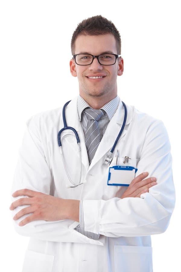 Sonrisa confidente del estudiante de medicina foto de archivo libre de regalías