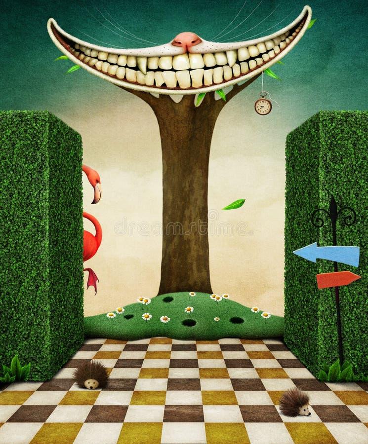 Sonrisa de Cheshire Cat en árbol stock de ilustración
