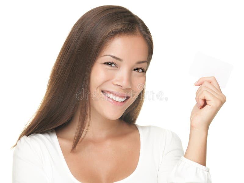 Sonrisa de la mujer de la tarjeta de visita fotos de archivo libres de regalías