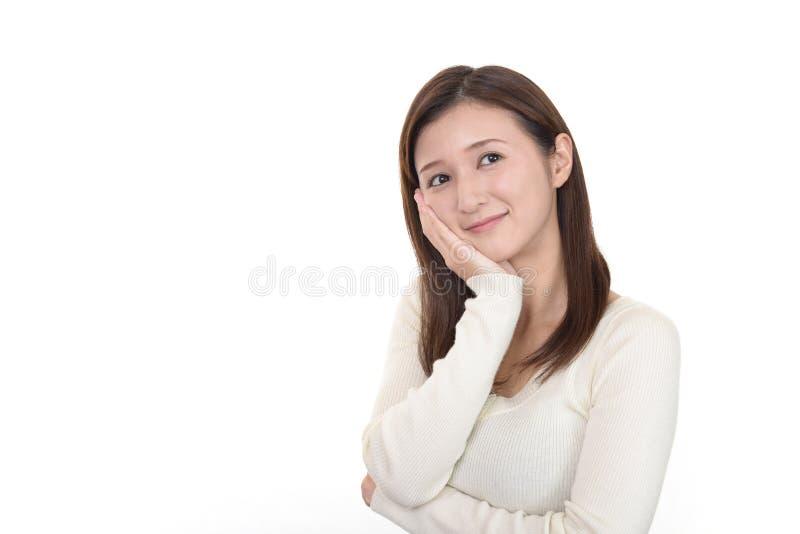 Sonrisa de la mujer feliz foto de archivo libre de regalías