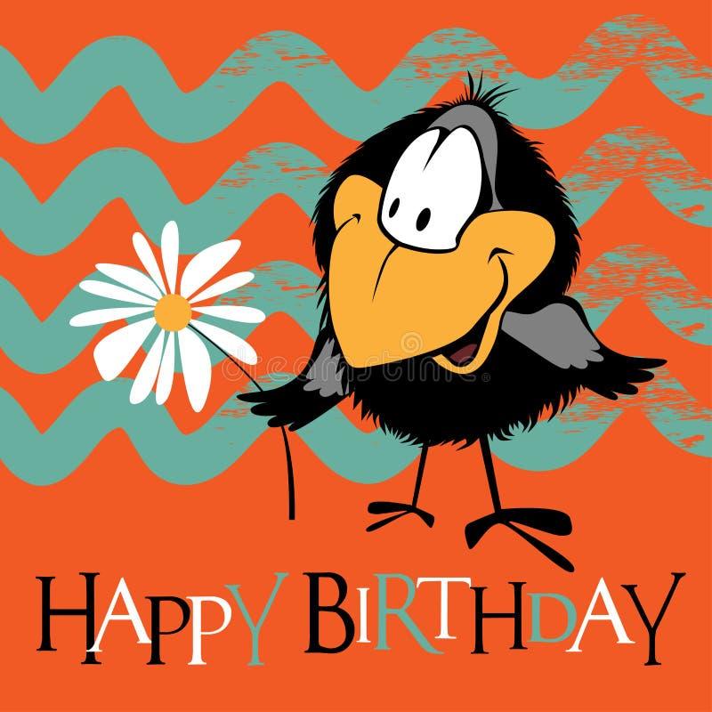 Sonrisa de los pájaros del feliz cumpleaños ilustración del vector