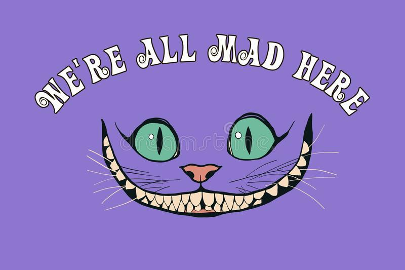 Sonrisa de un gato de Cheshire para el cuento Alicia en el país de las maravillas ilustración del vector
