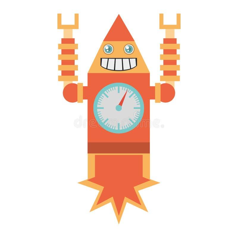 sonrisa del cohete del laungh del reloj del robot libre illustration