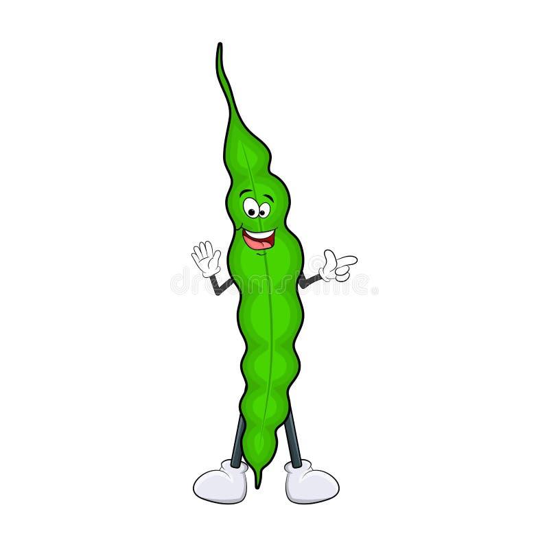 Sonrisa del guisante verde de la historieta aislada en el fondo blanco libre illustration