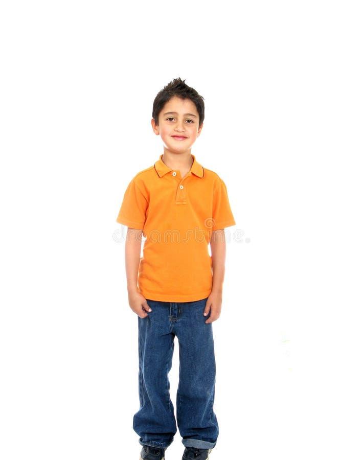 Sonrisa del niño aislada sobre un blanco fotos de archivo