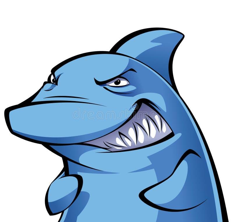 Sonrisa desviada y viciosa del tiburón de la historieta stock de ilustración