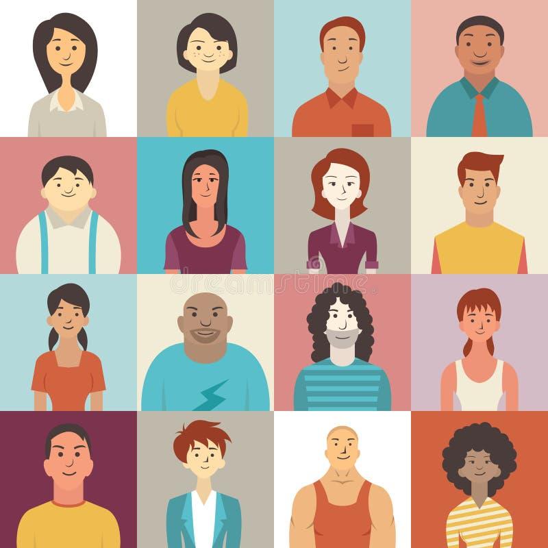 Sonrisa diversa de la gente ilustración del vector