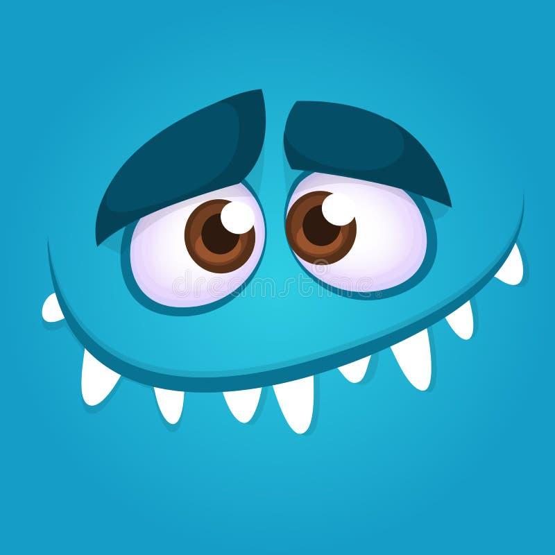 Sonrisa divertida de la cara del monstruo de la historieta Ejemplo del vector del avatar espeluznante azul del monstruo Diseño de libre illustration