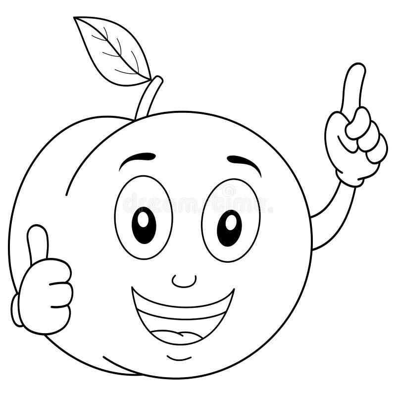 Sonrisa divertida del carácter del melocotón que colorea stock de ilustración