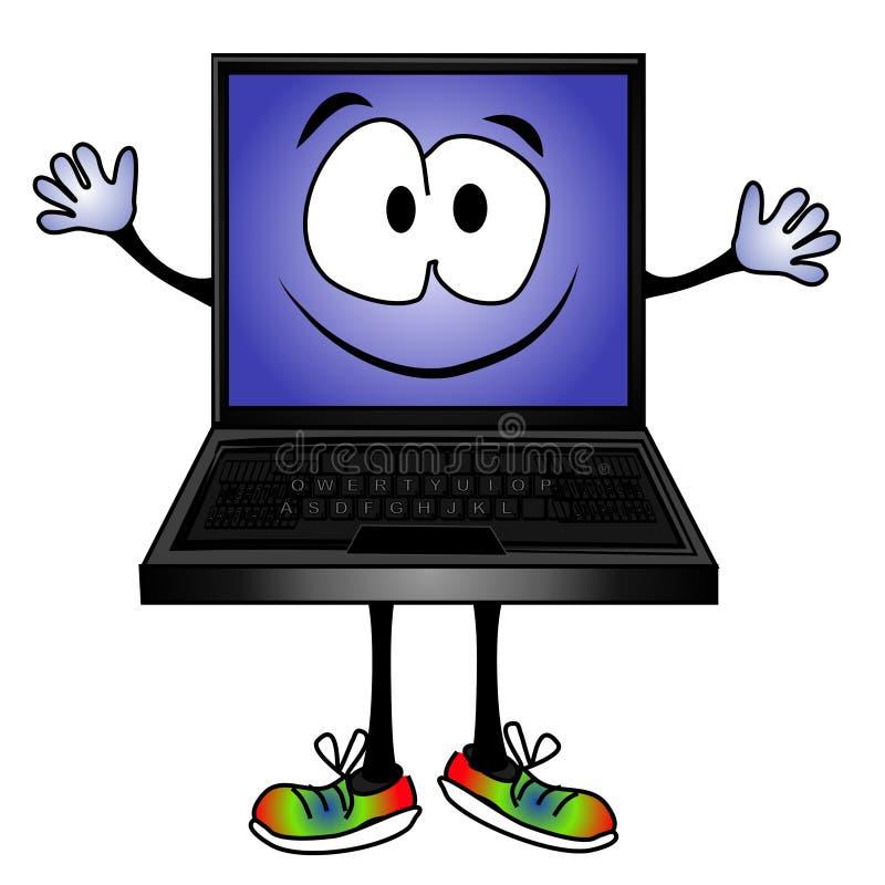 Sonrisa divertida del ordenador de la historieta ilustración del vector